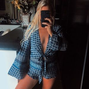 Blue boho front knot front tie plunging romper